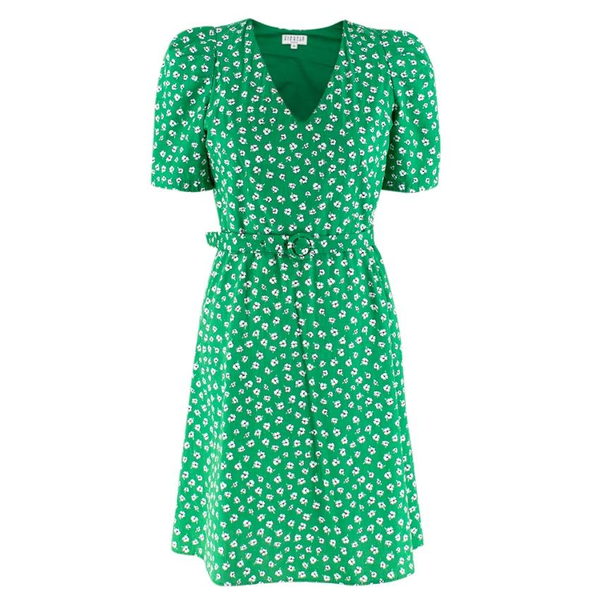 Claudie Pierlot Belted Floral-print Cotton-poplin dress