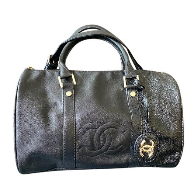Chanel black caviar leather VIP gift shoulder strap duffle bag