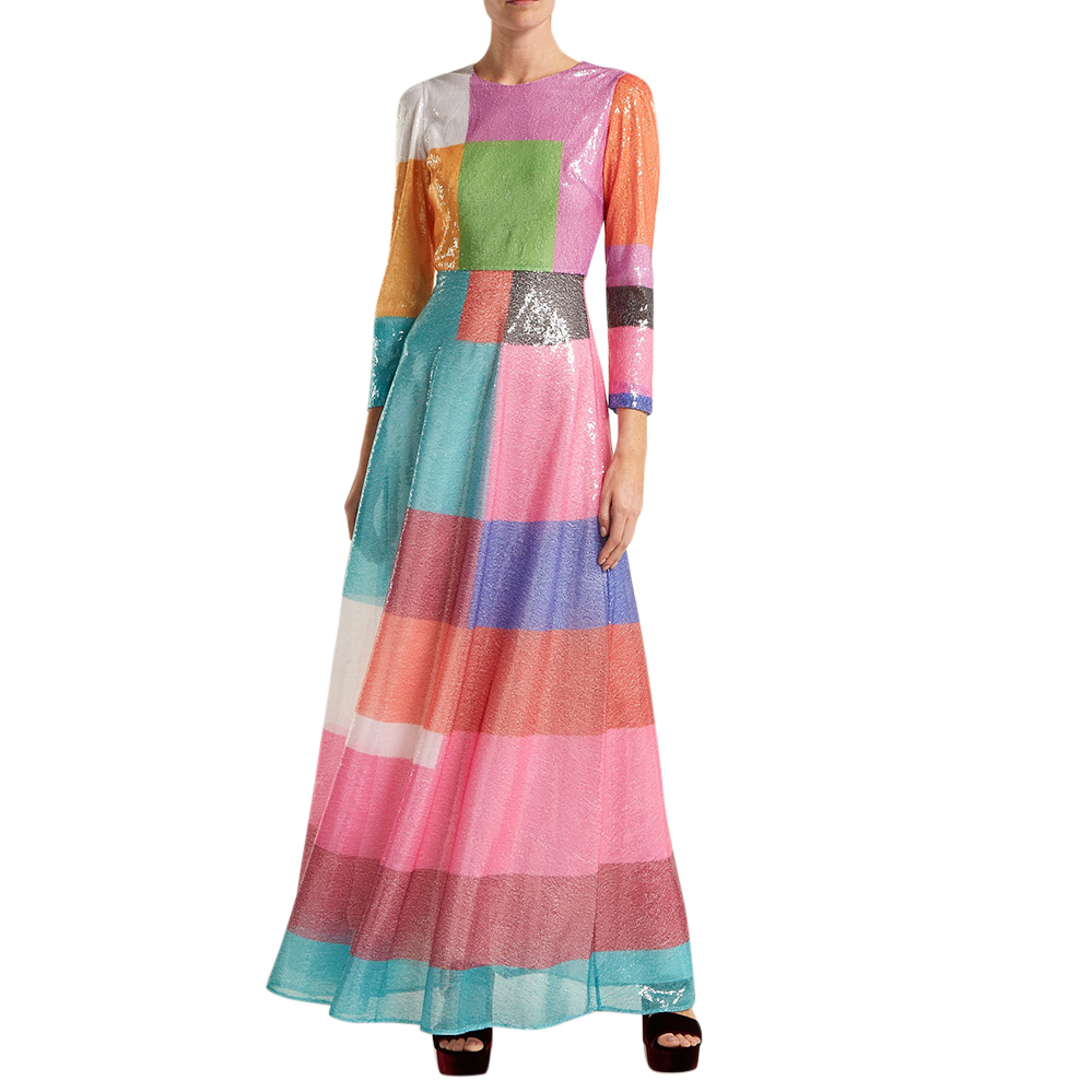 Mary Katrantzou Rosalba Sequinned Colour Block Maxi Dress
