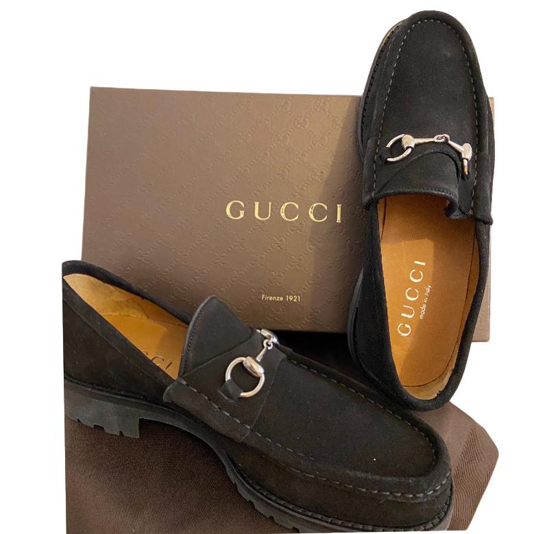 Gucci Black Suede Horsebit Loafers 1 | HEWI