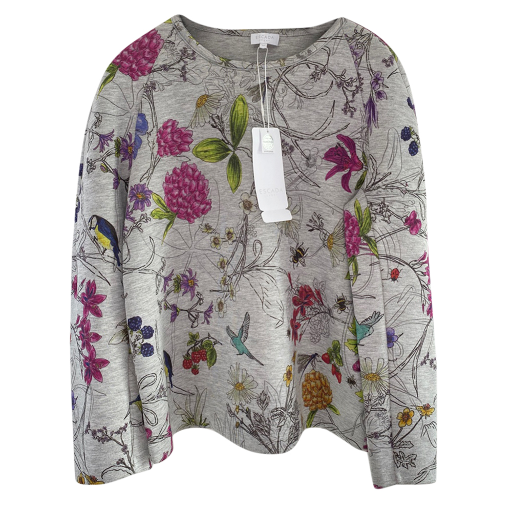 Escada Grey Floral Print Sweatshirt