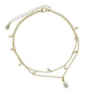 Salvartore Plata Gold Plated Freshwater Pearl Drop Anklet