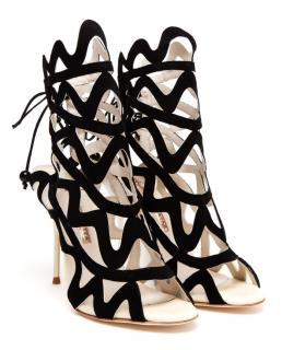 Sophia Webster Black Mila Suede Cutout Peep-toe Sandals