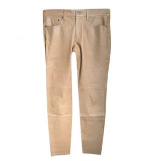 Ralph Lauren Purple Label Tan Leather Pants