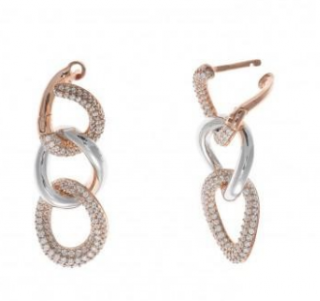 Salvatore Plata Rose & Rhodium Plated Crystal Link Drop Earrings