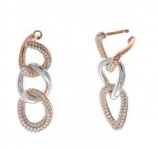 Salvatore Plata Rose & Rhodium Plated Crystal Link Drop Earrings