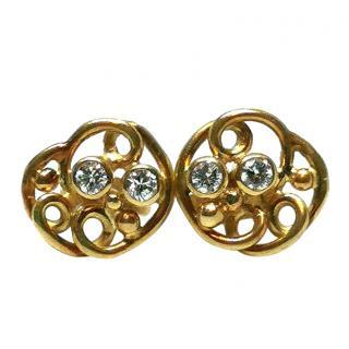 Bespoke Diamond Swirled Yellow Gold Earrings