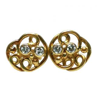 Bespoke Diamond Swirled Yellow Gold Earrings