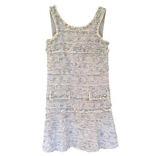 Chanel Blue & White Tweed Sleeveless Dress