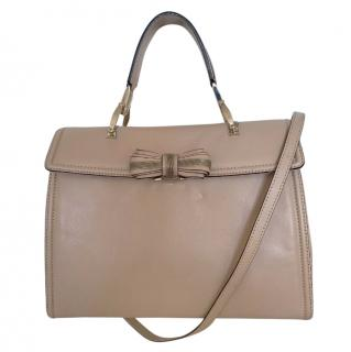 Valentino Smooth Leather Nude Bow Detail Shoulder Bag