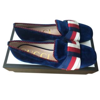Gucci Blue Velvet Loafers with Sylvie Bow