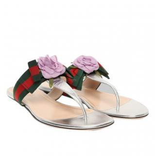 Gucci Silver Web Stripe Thong Sandals