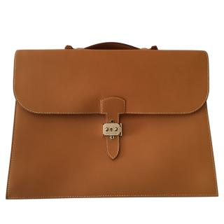 Hermes Camel Vintage Leather Briefcase