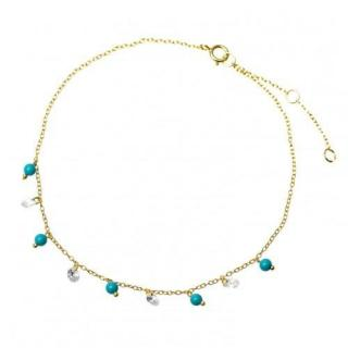 Salvatore Plata Turquoise Beaded Gold Plated Crystal Anklet