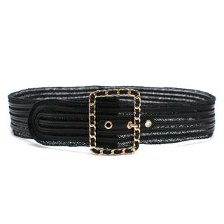 Chanel Woven Leather Belt with Square Chain Trim Buckle