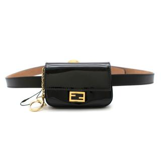 Fendi Black Patent Nano Baguette Charm & F is Fendi Belt