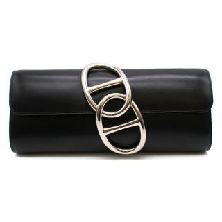 Hermes Black Tadelakt Leather Egee Clutch PHW