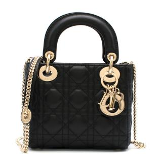 Dior Black Cannage Leather Mini Lady Dior Bag