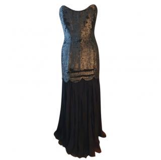 Rachel Gilbert Black Hand Embellished Strapless Gown