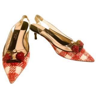 Gucci Eleanor crystal-strawberry tweed slingback pumps