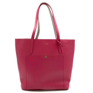 Smythson Pink Panama North-South Tote