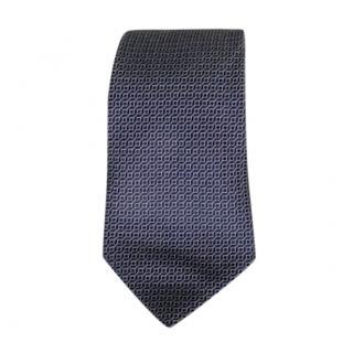 Armani Collezioni Blue Silk Geometric Tie