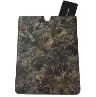 Dolce & Gabbana Black Floral Saffiano Leather iPad Case