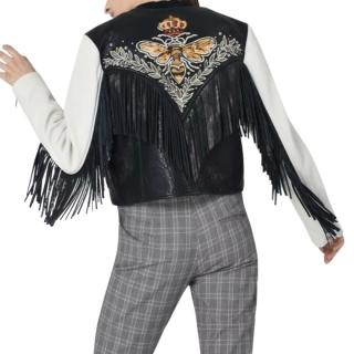 Isabel Marant Etoile Kirk Embroidered Fringed Leather Jacket