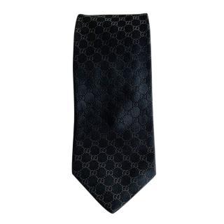 Gucci Navy Monogram Silk Tie