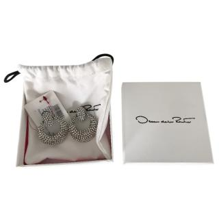 Oscar De La Renta Crystal Embellished Circle Drop Earrings