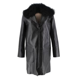 Longchamp Cashmere Lined Leather Coat with Calf Hair Collar