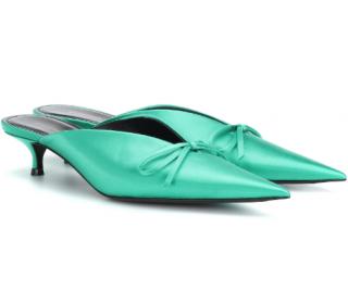 Balenciaga Emerald Green Satin Knife Sandals