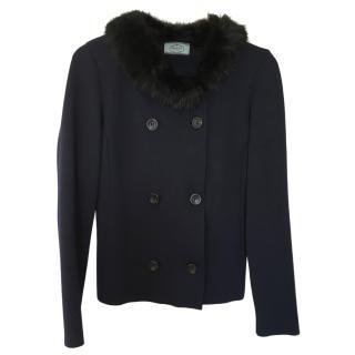 Prada Marine Blue Wool Cardigan with Wool Cardigan