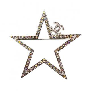 Chanel Crystal Star Pin Brooch