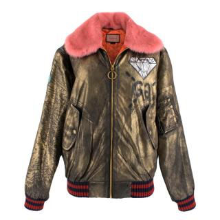 Gucci Ghost Hand Painted Bomber with Pink Mink Fur Collar