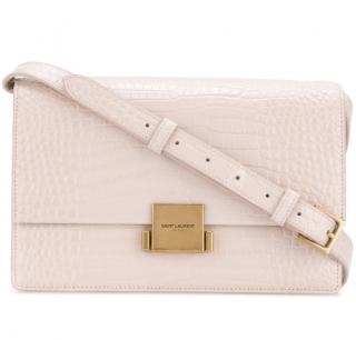Saint Laurent Medium Bellechasse Croc Embossed Pink Shoulder Bag