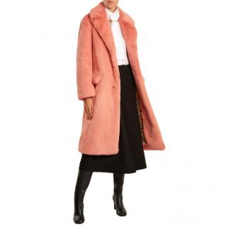 Burberry Pink Faux Fur Single Breasted Coat