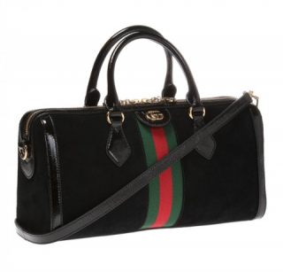 Gucci Black Suede Ophidia Boston Bag