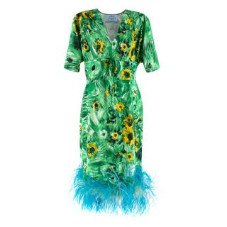Prada Floral Silk-Crepe Midi Dress with Feathered Trim