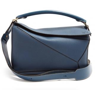 Loewe Teal Blue Large Puzzle Bag