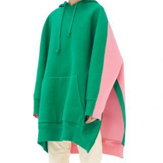 Celine by Phoebe Philo Pink & Green Oversize Contrast Hoodie