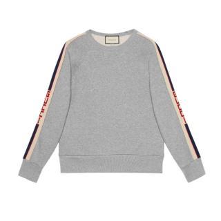 Gucci Grey Cotton Sweatshirt With Gucci Stripe