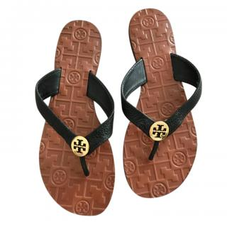Tory Burch Black Leather Thong Sandals