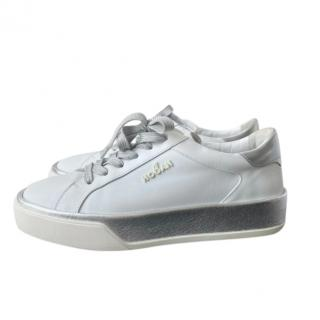 Hogan white leather trainers
