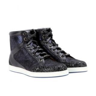 Jimmy Choo Tokyo leather and glitter high-top sneakers