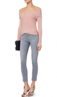 A.L.C. Rayne Off The Shoulder Rib Knit Cropped Blush Sweater