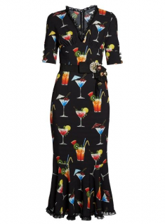 Dolce & Gabbana Embellished Cocktail Print Crepe De Chine Dress