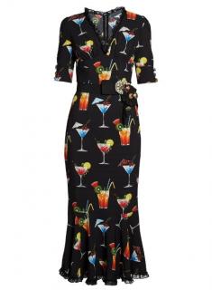 Dolce & Gabbana Embellished Cocktail Print Crepe De Chine Dress