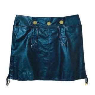 Chanel Paris/Moscow Black Leather Mini Skirt