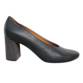 Chloe Black Leather Block Heel Pumps